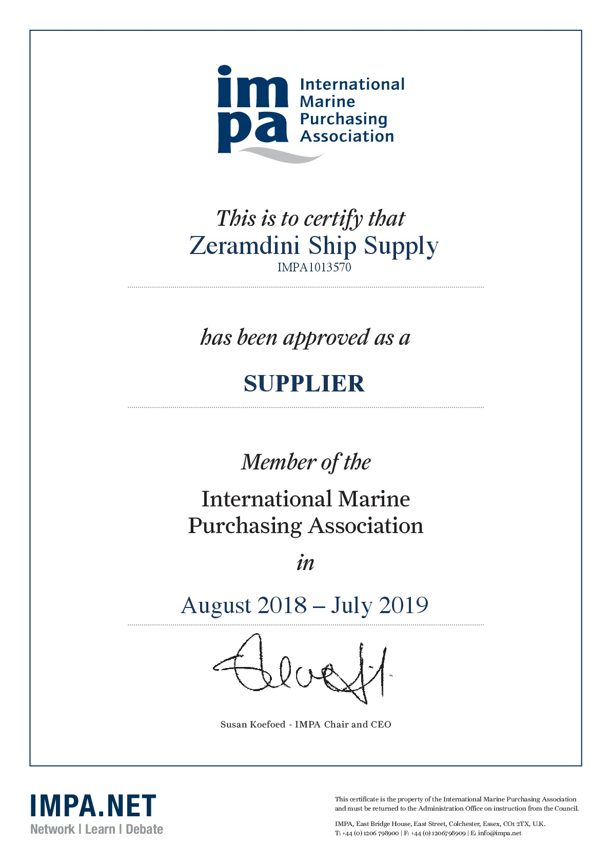 IMPA Certificate 2018 - Zeramdini Ship Supply-001